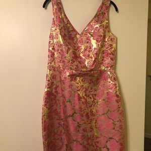 Pink and gold rose print Lilly Pulitzer dress